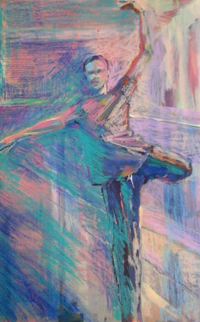 male dancer balancing multicoloured