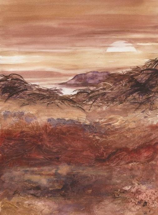 brown landscape mountain sun sky