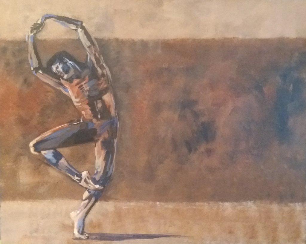 brown male naked dancer balancing brown background