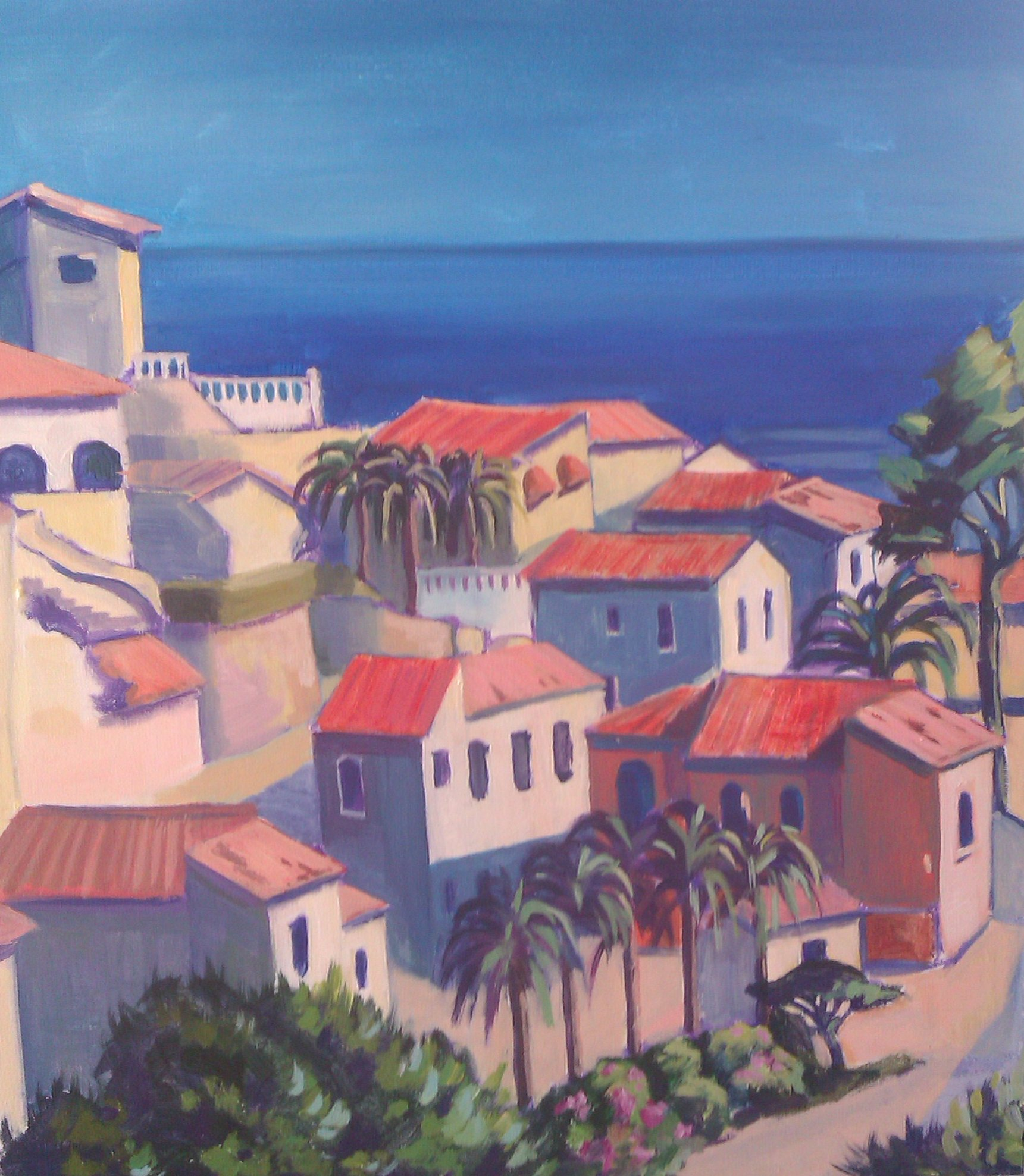 mediterranean houses blue sea and sky trees and bushes