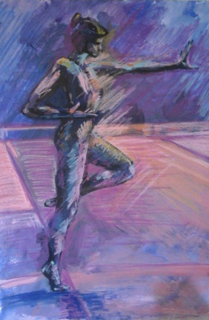 female dancer in profile balancing pink purple background