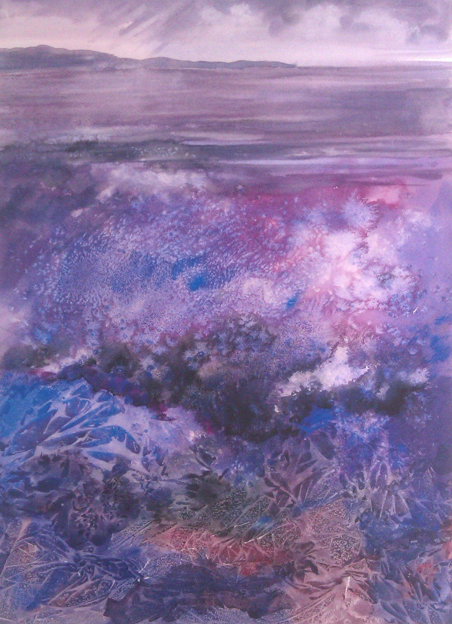 purple seascape foliage mountains and sky