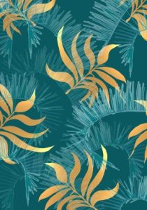 blue gold leaves on blue background