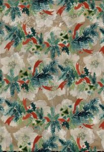 green leaves red bows white flowers on cream background