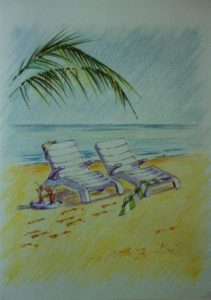 white beach beds green palm on beach blue sea sky green towel cocktails
