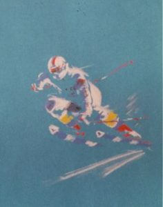 white skier on blue background