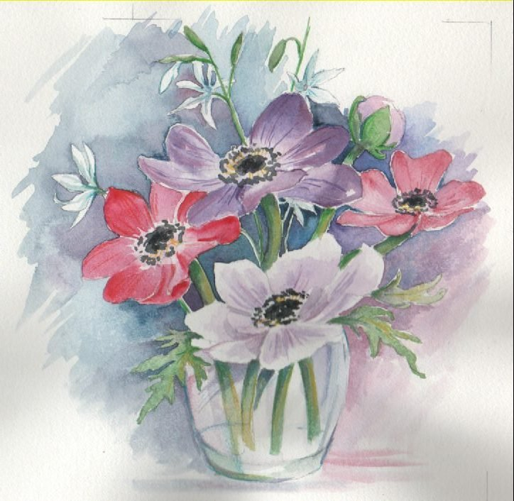 purple white red pink flowers in vase blue and white background