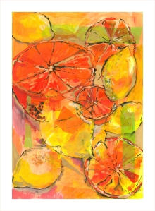 yellow orange fruits yellow background