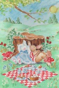 rabbits lying down picnic blanket green field trees mushrooms