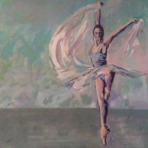 pink female dancer balancing green background
