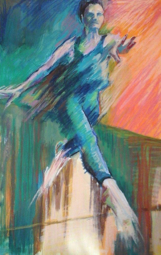 blue female dancer leaping forwards blue orange background