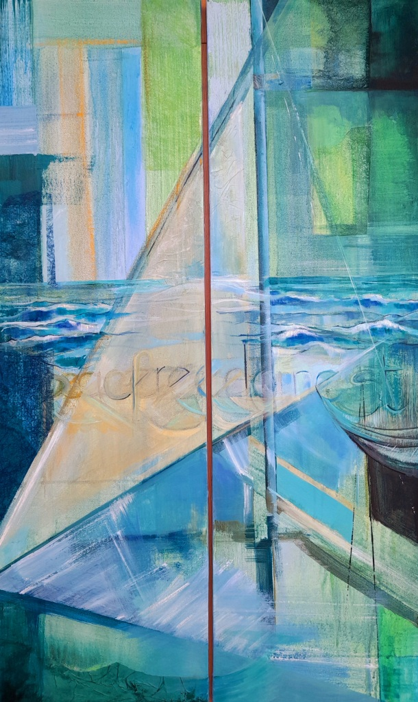 green and blue abstract painting sea yacht boat sailing